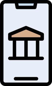 mobile museum vector line colour icon
