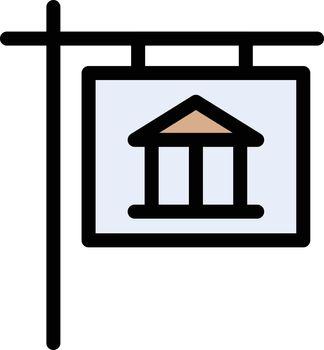 museum board vector line colour icon