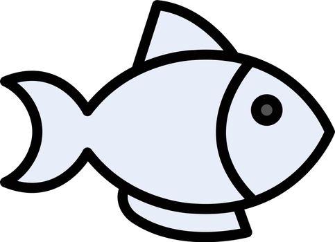 fish vector line colour icon