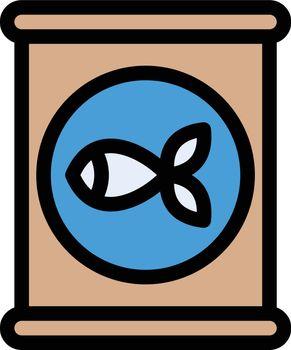 fish vector color line icon