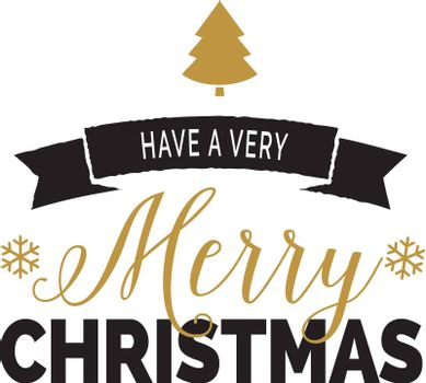 Have very merry Christmas lettering. Calligraphic inscription with coniferous golden tree and snowflake as decor. Handwritten text, calligraphy. Can be used for greeting cards, posters and leaflets