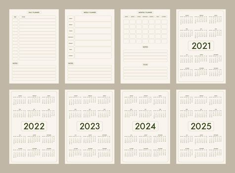 2022 2023 2024 2025 calendar daily weekly monthly personal planner diary template minimalist trendy style, pastel beige olive natural color palette. Week starts on sunday