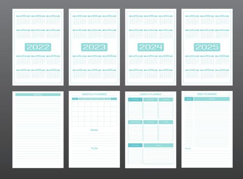 2022 2023 2024 2025 calendar daily weekly monthly personal planner diary template in strict minimalist urban style turquoise mint pastel color. individual schedule Week starts on sunday