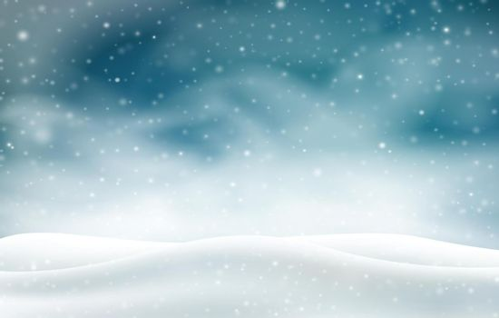 Winter 3D landscape with snowstorm at night. Realistic white snowfall. Vector illustration.