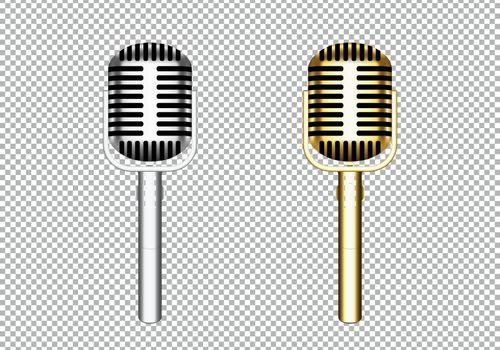 3D silver and gold jazz microphone in front view. Vector illustration with isolated background.