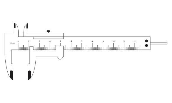 Vernier Caliper Black Outline isolated on a white background. EPS Vector