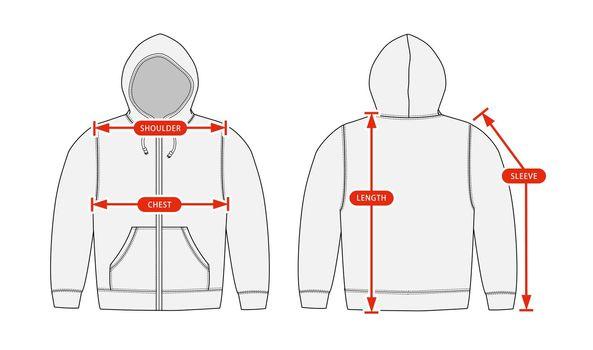 Clothing size chart vector illustration ( Sweat parka shirt )