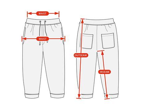 Clothing size chart vector illustration (Sweat pants )
