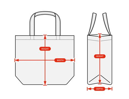 Clothing size chart vector illustration (Tote bag )