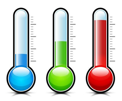 Vector illustration of temperature thermometer measurement icons