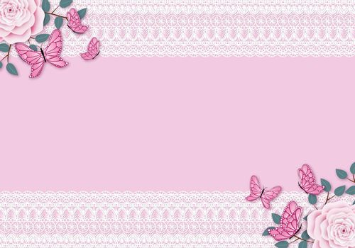 Pink vintage background with white lace frame. Pastel colored rose with leafy branches and flying butterfly decoration. Copy space for the text.