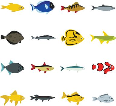 Flat fish icons set. Universal fish icons to use for web and mobile UI, set of basic fish elements isolated vector illustration