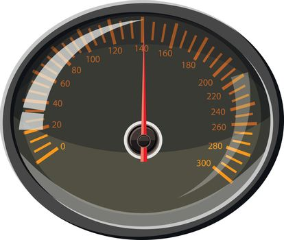 Speedometer 140 km in hour icon in cartoon style isolated on white background. Speed measurement symbol