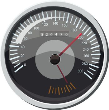 Grey speedometer icon in cartoon style isolated on white background. Speed measurement symbol