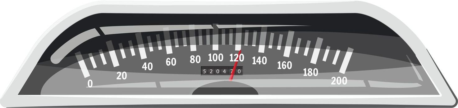 Small speedometer to 120 km in hour icon in cartoon style isolated on white background. Speed measurement symbol