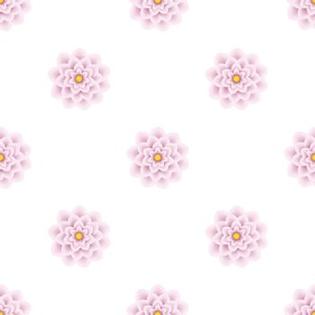 Minimalist floral seamless pattern. Pink flowers on white background.