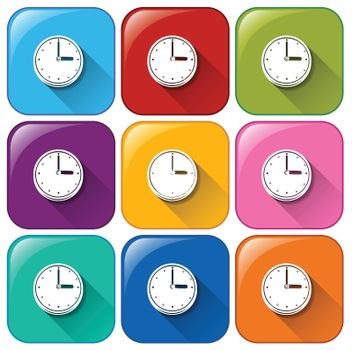 Illustration of the rounded icons with clocks on a white background