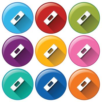Illustration of the rounded icons with band-aids on a white background