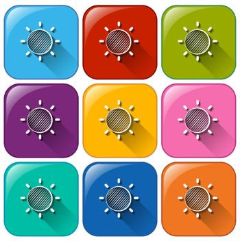 Illustration of the rounded buttons with a Sun on a white background