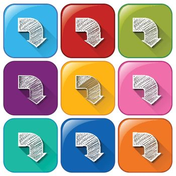 Colourful rounded buttons with arrows on a white background