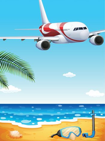 Illustration of a beach with an airplane uphigh