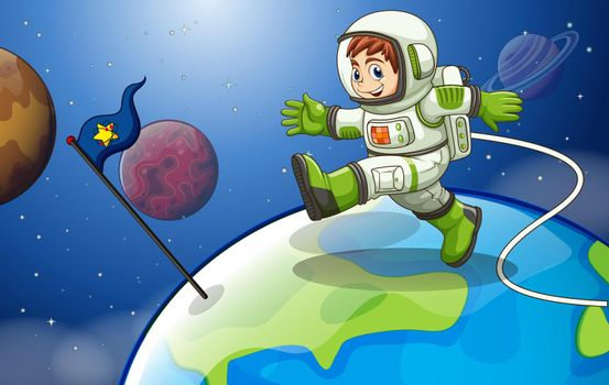 Illustration of an astronaunt in the space