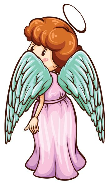 Illustration of a simple sketch of an angel on a white background