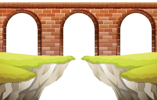 Illustration of a close up bridge arch