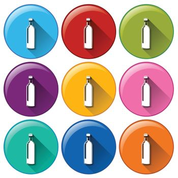 Illustration of the rounded buttons with bottles on a white background