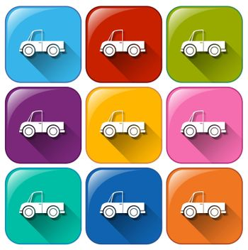 Illustration of the rounded buttons with cars on a white background