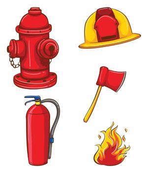 Illustration of a set of equipment for fireman