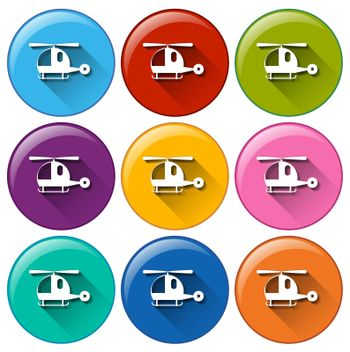 Rounded buttons with helicopters on a white background