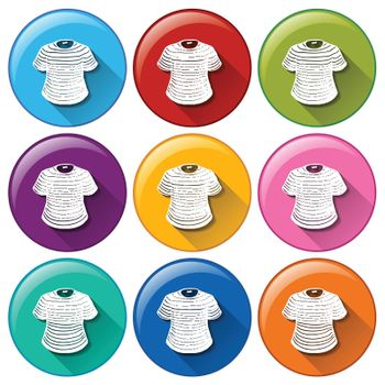 Illustration of the rounded buttons with shirts on a white background