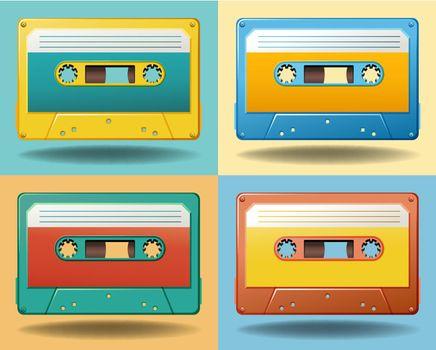 Set of four different color cassettes