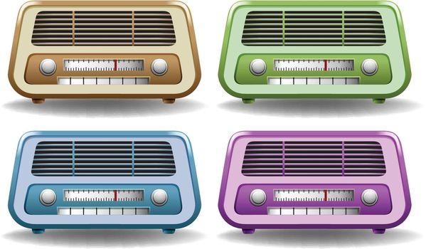 Retro radio in four different colors