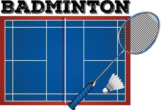 Badminton court and equipment illustration