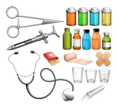 Medical equipment and container illustration