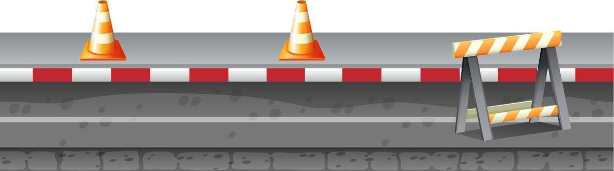 Construction equipment on the road illustration