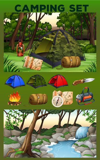 Camping equipment and field illustration