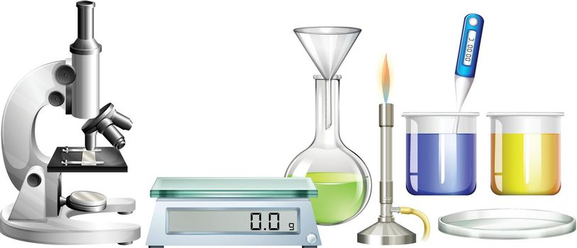 Science beakers and other equipment illustration