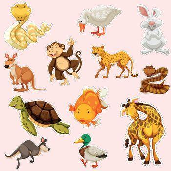 Sticker design for wild animals illustration