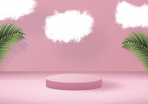 3D vector design. Tropical background with podium in pink color. Palm leaves and clouds decoration.