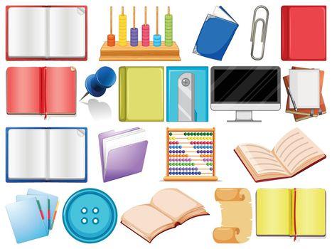 school or school equipment illustration