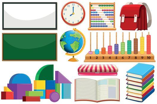 Set of learning equipment illustration