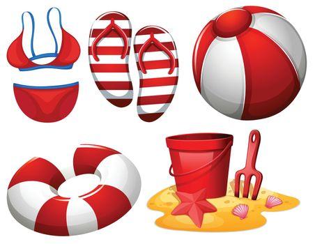 beach equipment for fun illustration