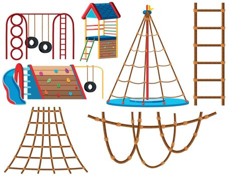 Set of playground equipment illustration