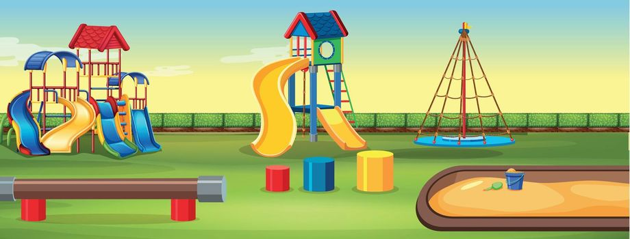 Empty playground with equipment illustration