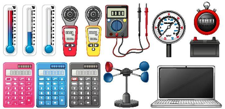 Set of measuring devices on white background illustration