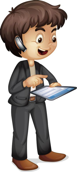 Illustration of a man using communication tools