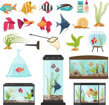 Aquarium set of isolated fish bowls species water plants aquaria tendance equipment and fishfood packaging images vector illustration
